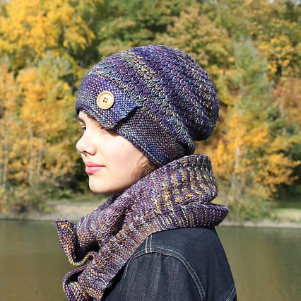 Hat and cowl knitting pattern - OLMO by Lilofil
